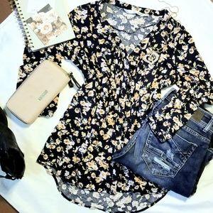LC Lauren Conrad Floral Button Front Blouse